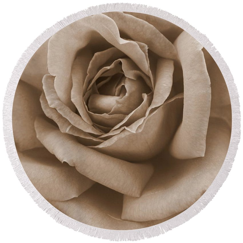 Sepia Rose Round Beach Towel featuring the photograph Sepia Rose Abstract by Carol Groenen