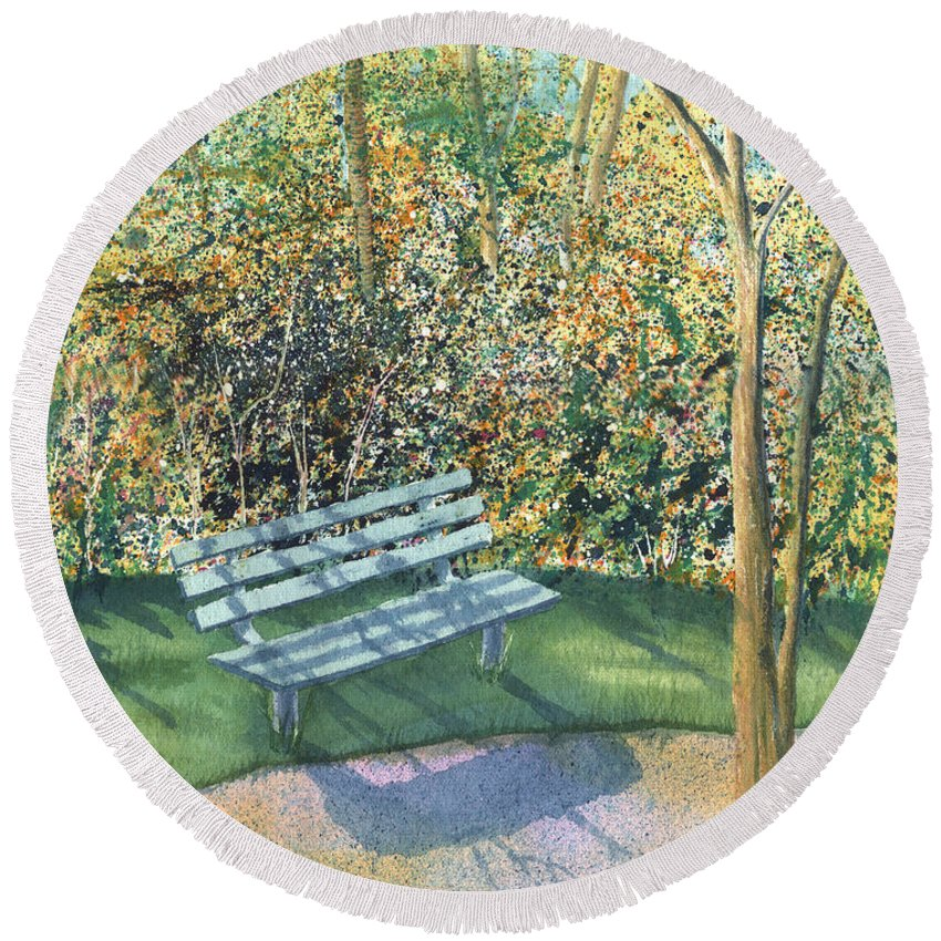 Autumn Trees Round Beach Towel featuring the painting September Afternoon by Lynn Quinn