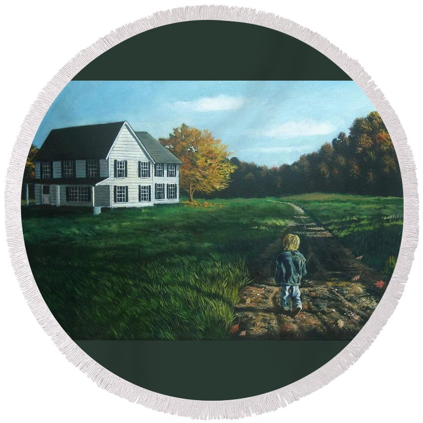 Pennsylvania Round Beach Towel featuring the painting September Breeze Number 4 by Christopher Shellhammer