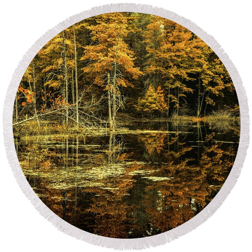 Landscape Round Beach Towel featuring the photograph September Eve by Bob Orsillo