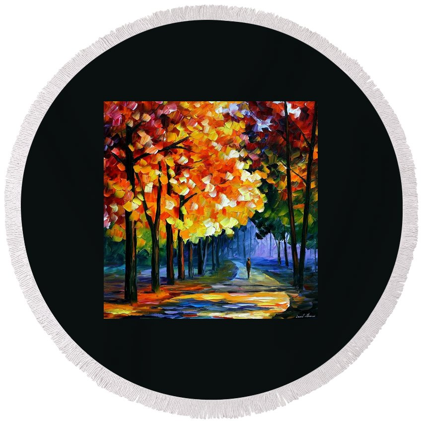 Afremov Round Beach Towel featuring the painting September by Leonid Afremov