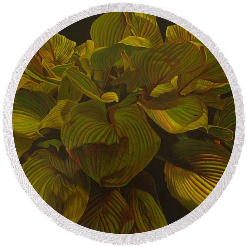 Plant Round Beach Towel featuring the painting September Night by Thu Nguyen