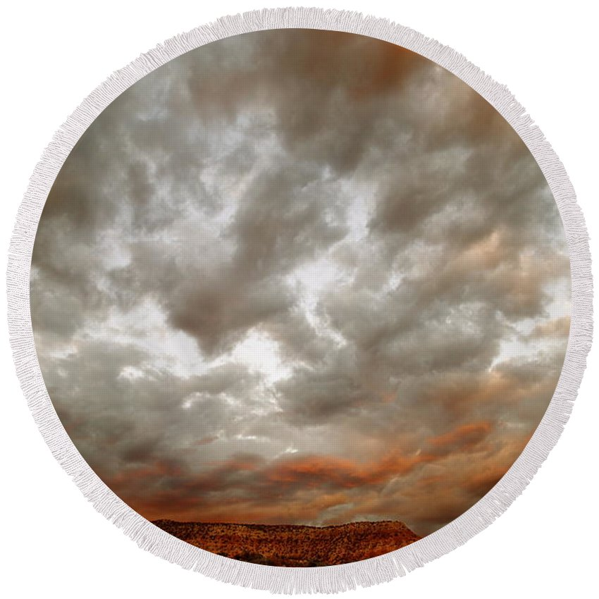 Sky Skies Clouds Storm Orange Sunset New Mexico Photo Mesa Red Orange Sunsets Northern New Exec Women Photographer Round Beach Towel featuring the photograph September Sky by Wendy Girard