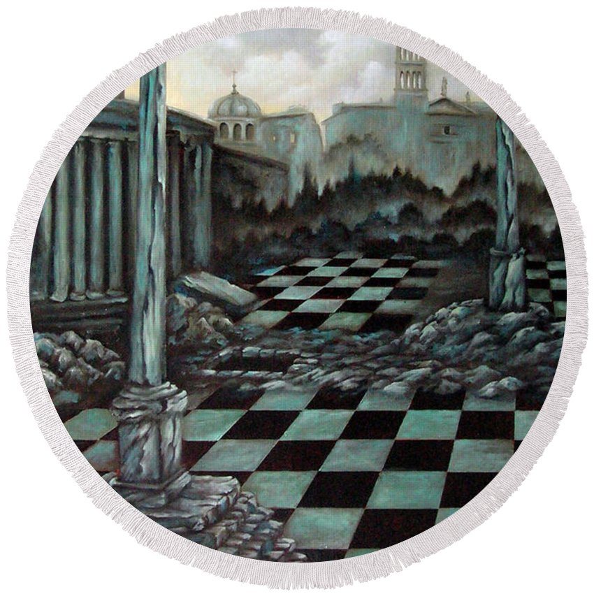 Surreal Round Beach Towel featuring the painting Sepulchre by Valerie Vescovi