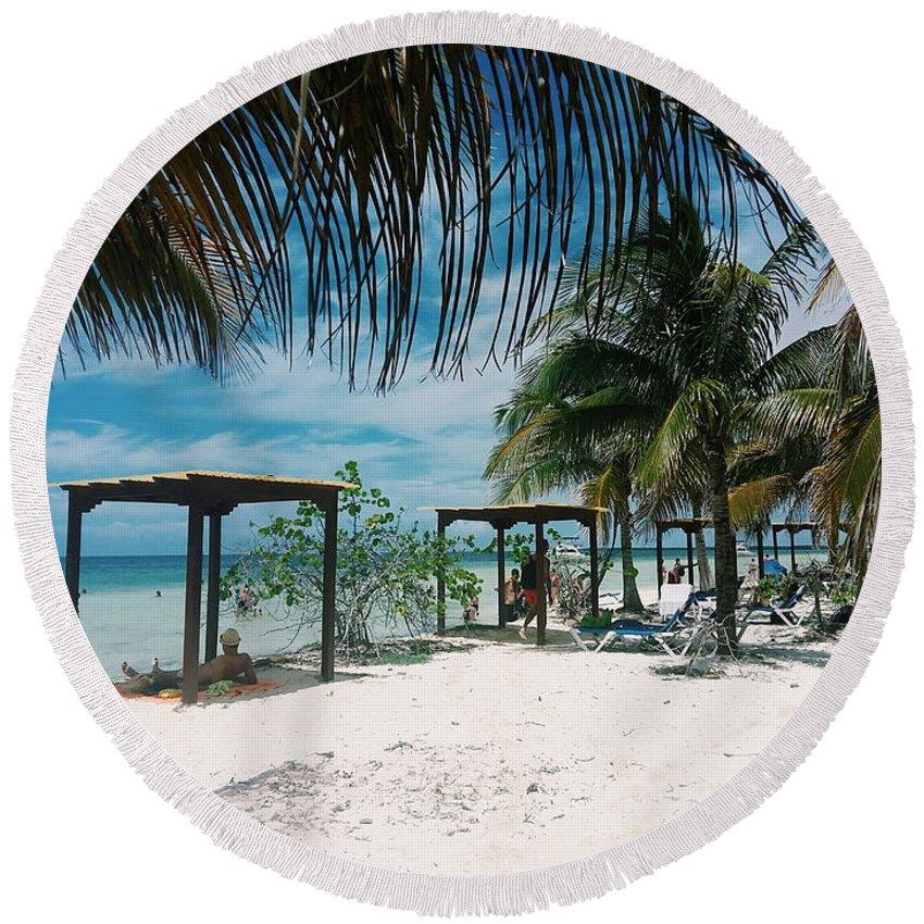 Palm Trees Round Beach Towel featuring the photograph Serene by Eloviano Maya
