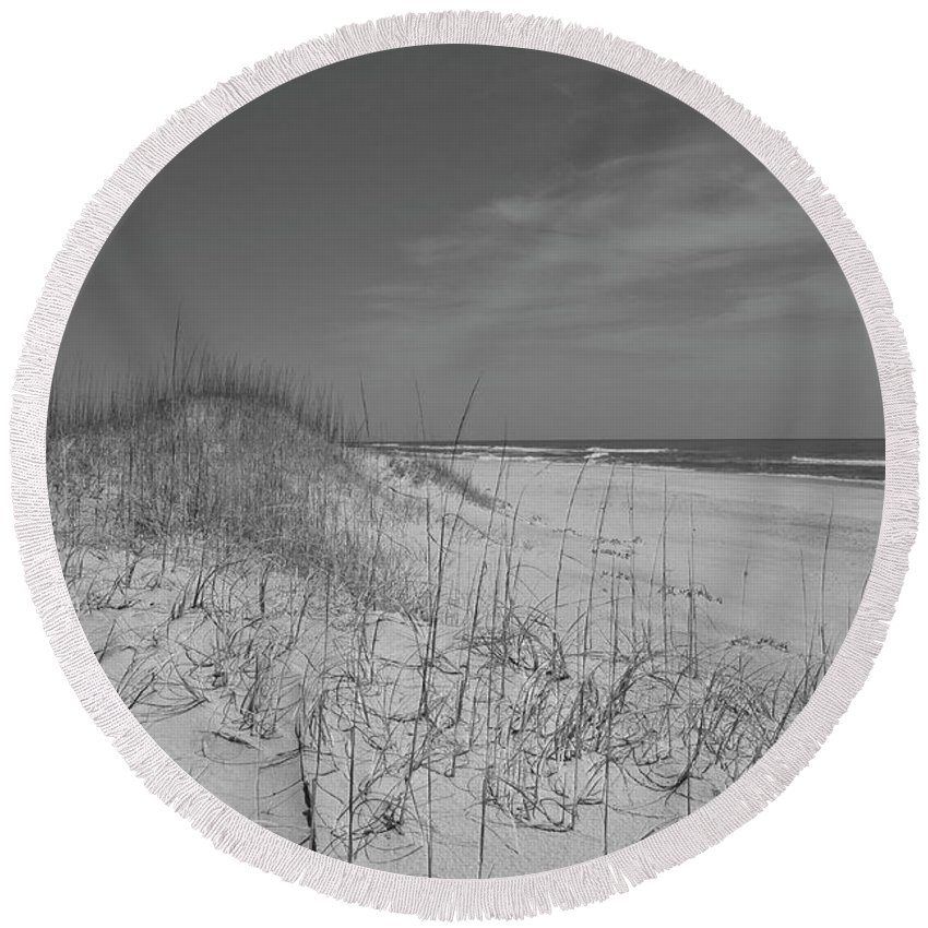 Beach Round Beach Towel featuring the photograph Serene Lookout by Betsy Knapp