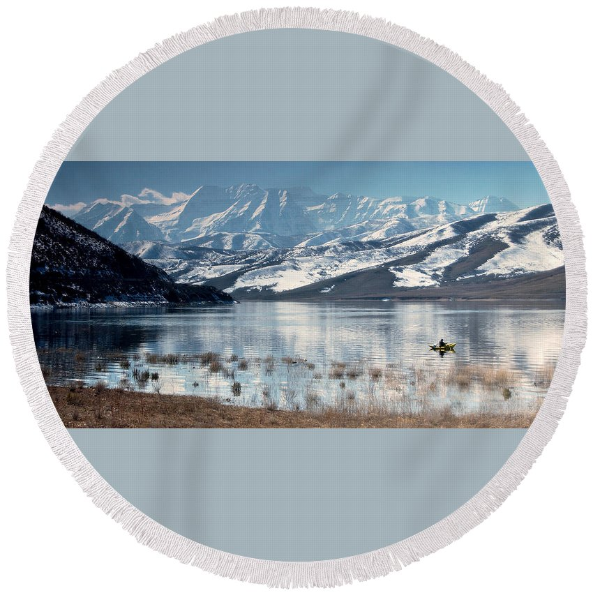 Landscape Round Beach Towel featuring the photograph Serene Paddling by Scott Sawyer