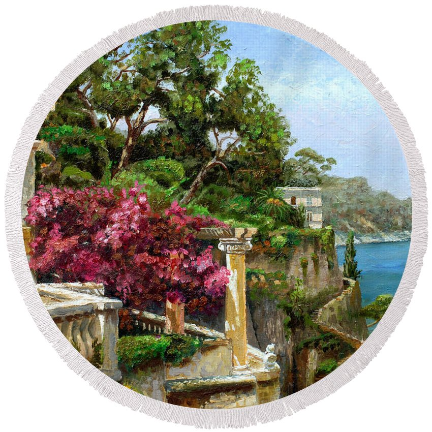 Coastal; Amalfi Coast; Italian; Columns; Villa; Blossom; Italy; Coast; Coastal; Sorrento; Villa; Green; Bush; Bushes; Tree; Trees; Sea; Water; Blue Sky; Fence; Gate; Pillar; Pillars; Sea Round Beach Towel featuring the painting Serene Sorrento by Trevor Neal