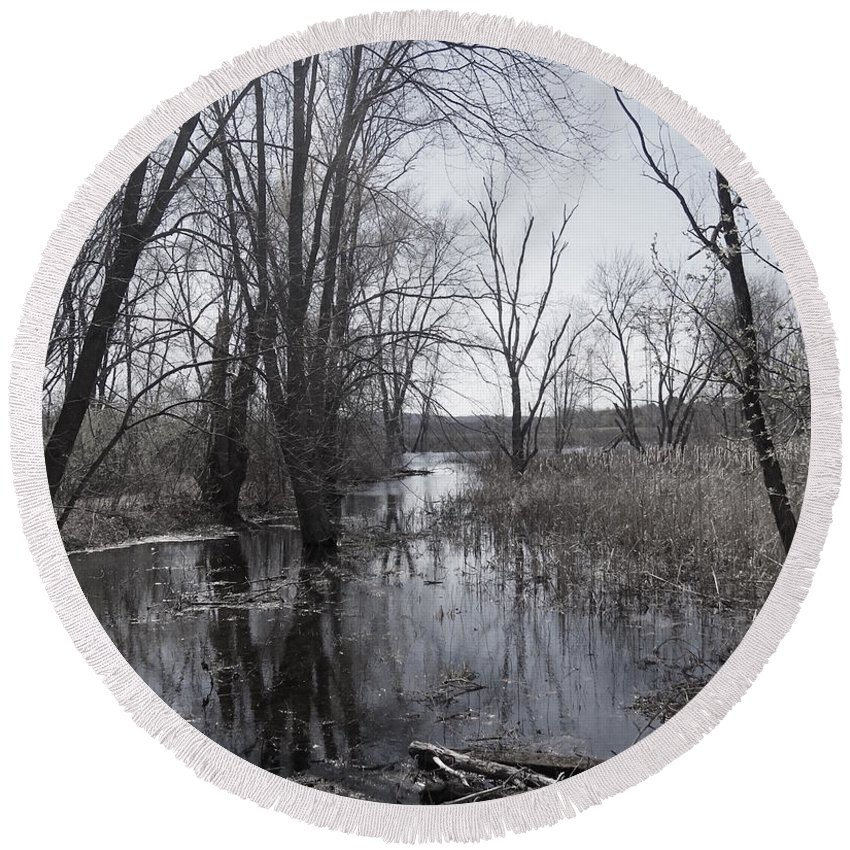 Serene Round Beach Towel featuring the photograph Serene Swampy River by Beth Myer