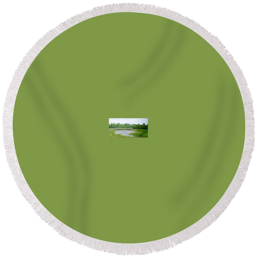 Landscape Round Beach Towel featuring the painting Serene Vista by Sheila Mashaw