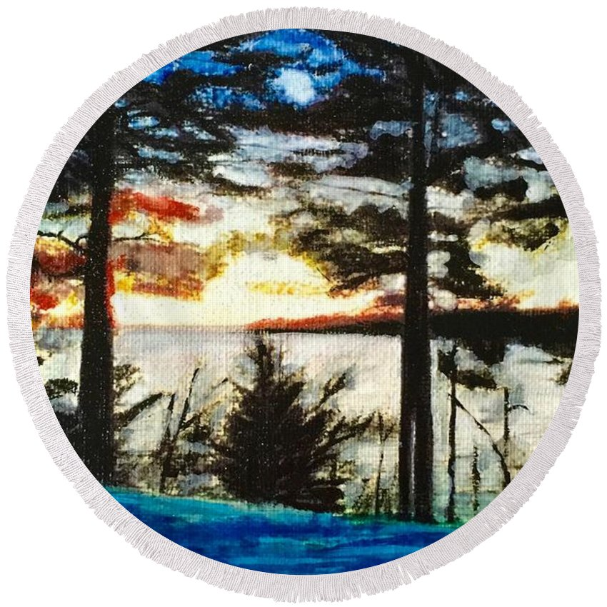 Sunset Round Beach Towel featuring the painting Serenity by Cara Frafjord