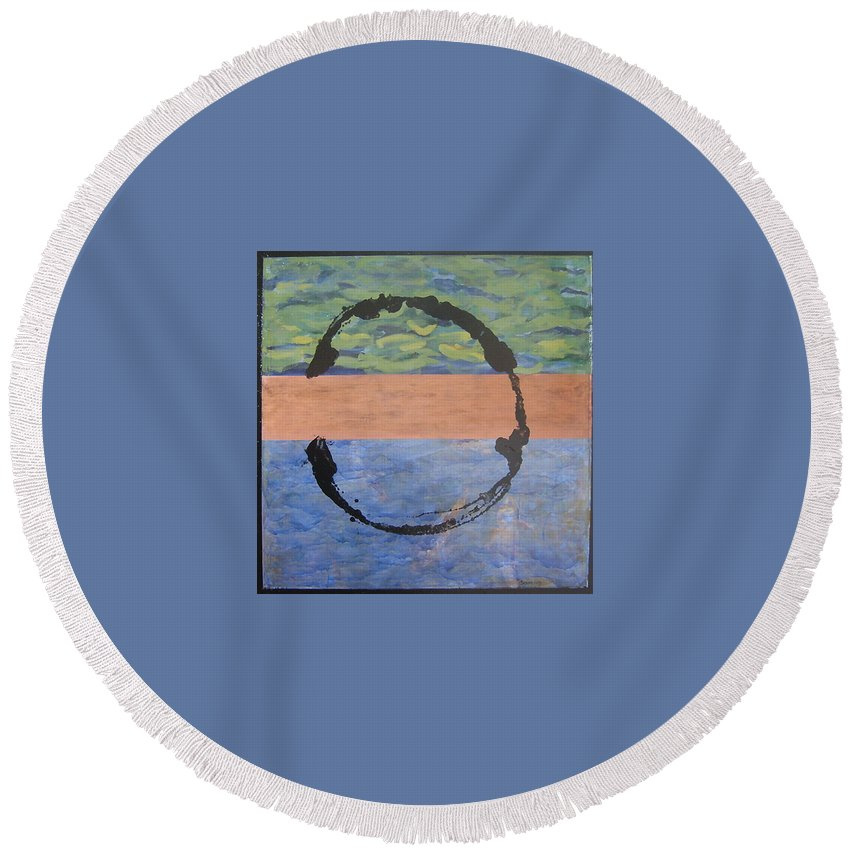Serenity Round Beach Towel featuring the painting Serenity by Ellen Beauregard