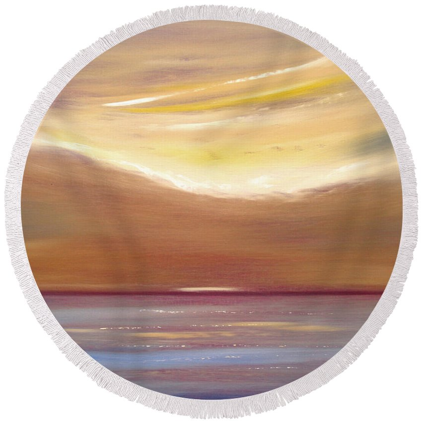 Art Round Beach Towel featuring the painting Serenity by Gina De Gorna