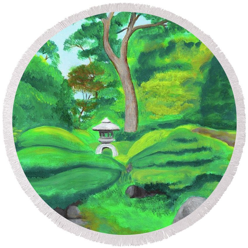 Japanese Tea Garden Round Beach Towel featuring the painting Serenity by Laura Zoellner