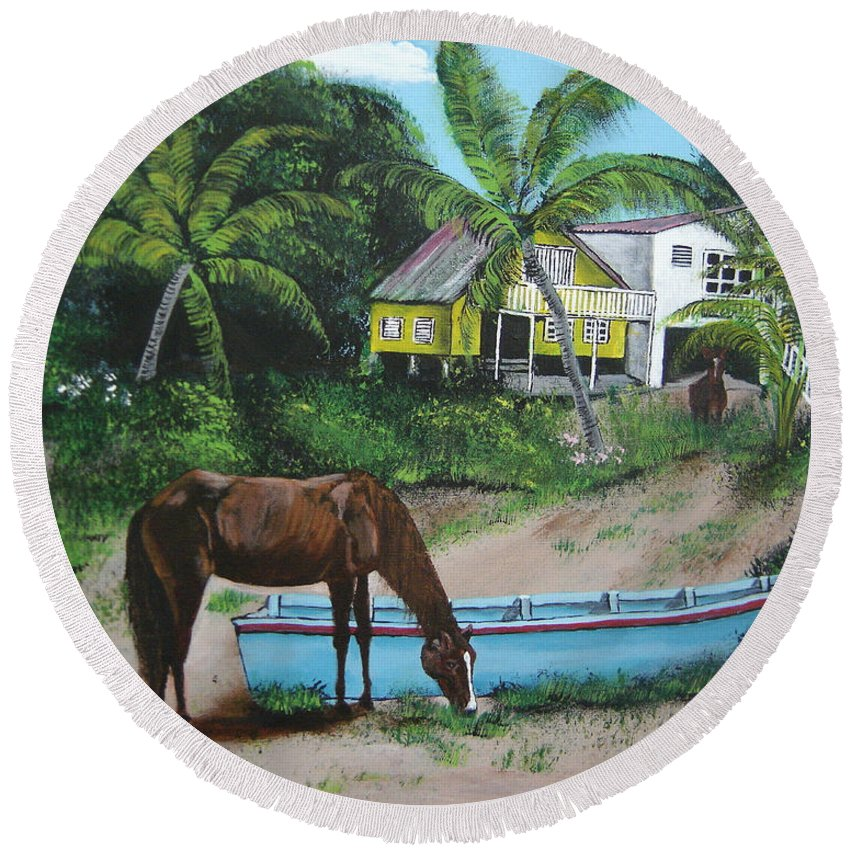 Aguadilla Round Beach Towel featuring the painting Serenity by Luis F Rodriguez