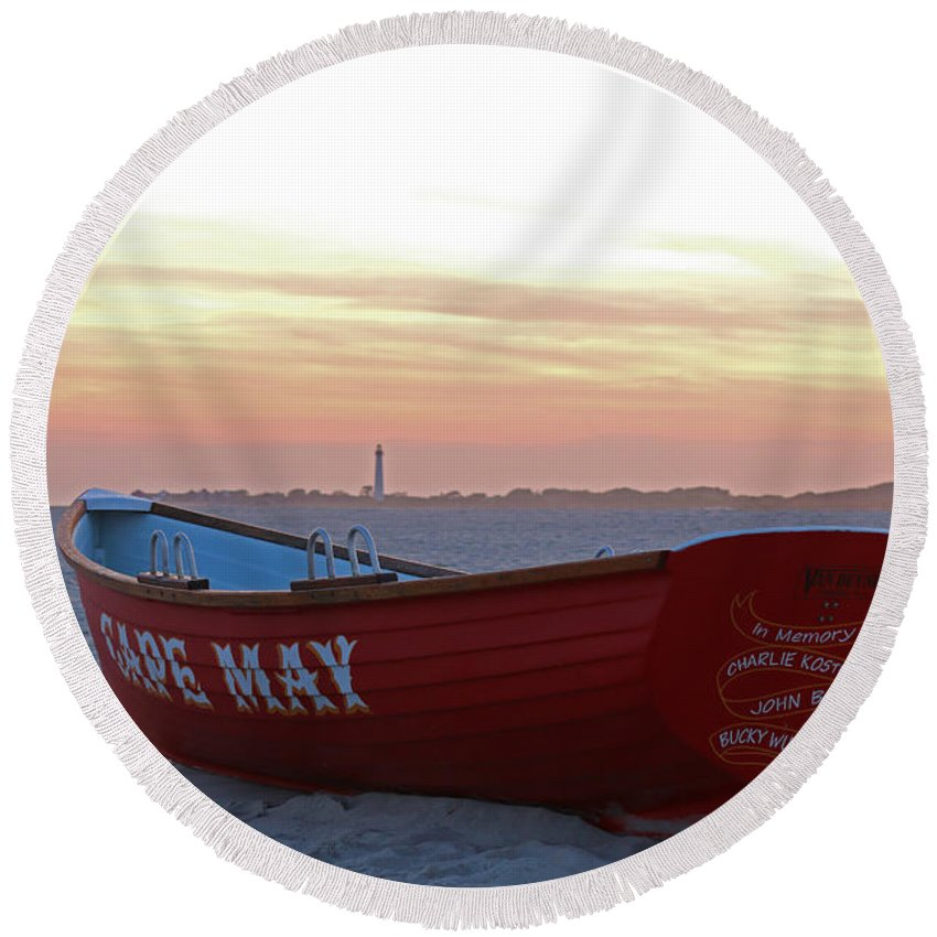 Cape May Round Beach Towel featuring the photograph Serenity In Cape May by Terrie Stickle