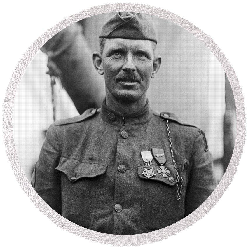 Alvin York Round Beach Towel featuring the photograph Sergeant York - World War I Portrait by War Is Hell Store
