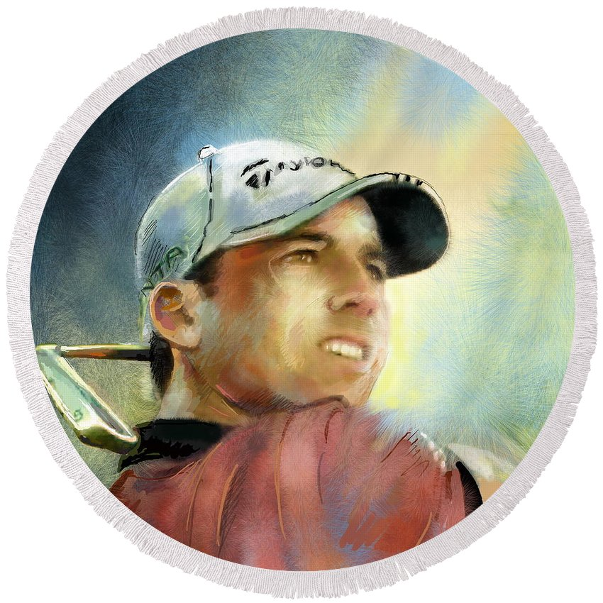 Golf Painting Golfart Castello Masters Spian Sport Round Beach Towel featuring the painting Sergio Garcia In The Castello Masters by Miki De Goodaboom