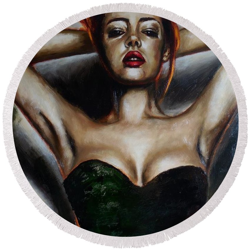 Redhead Round Beach Towel featuring the painting Series Dasha. Little Black Dress. 2. by Tatiana Siedlova