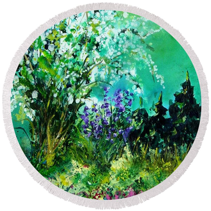 Tree Round Beach Towel featuring the painting Seringa by Pol Ledent