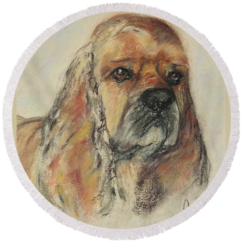 Dog Round Beach Towel featuring the drawing Serious Intent by Cori Solomon