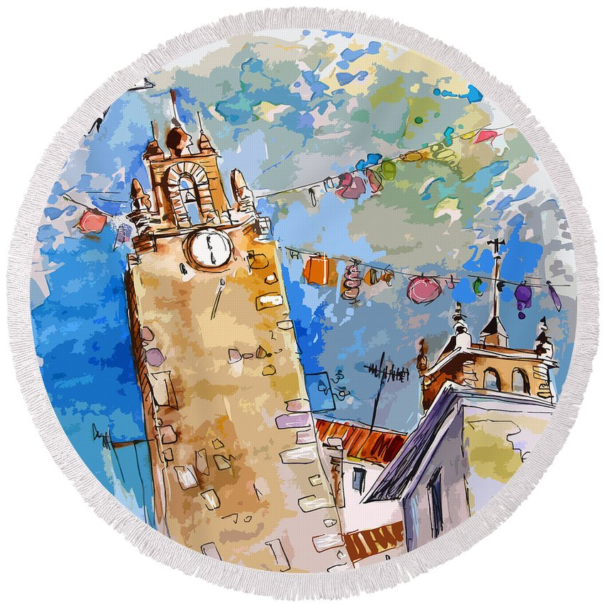 Painting Of Serpa Alentajo Portugal Travel Sketch Round Beach Towel featuring the painting Serpa Portugal 08 Bis by Miki De Goodaboom