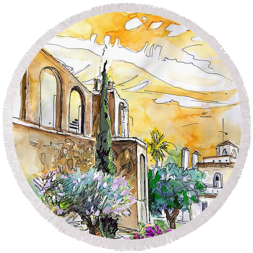 Portugal Paintings Round Beach Towel featuring the painting Serpa Portugal 10 by Miki De Goodaboom