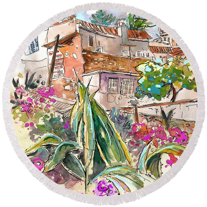 Portugal Paintings Round Beach Towel featuring the painting Serpa Portugal 24 by Miki De Goodaboom