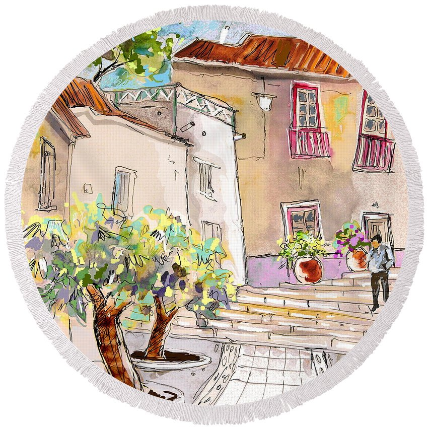 Portugal Paintings Round Beach Towel featuring the painting Serpa Portugal 36 by Miki De Goodaboom
