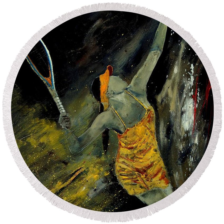 Sports Round Beach Towel featuring the painting Service by Pol Ledent