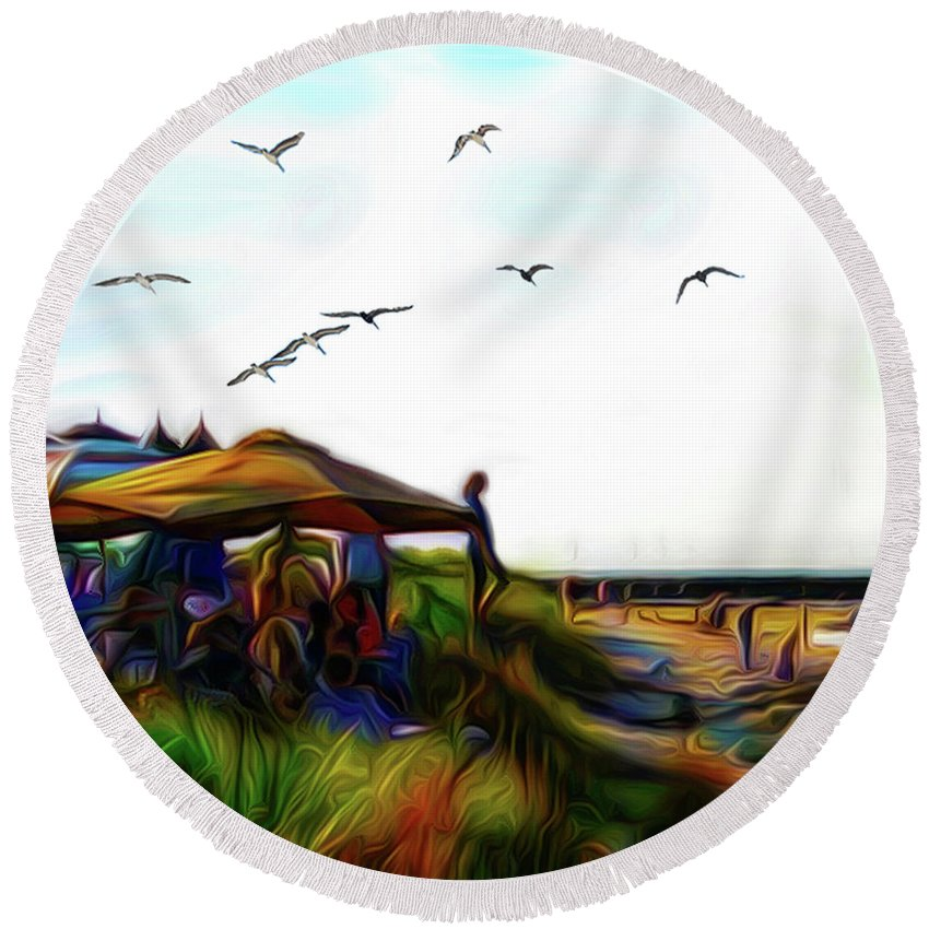 Summer Round Beach Towel featuring the digital art Sesuit Tetraptych 2 by William Sargent