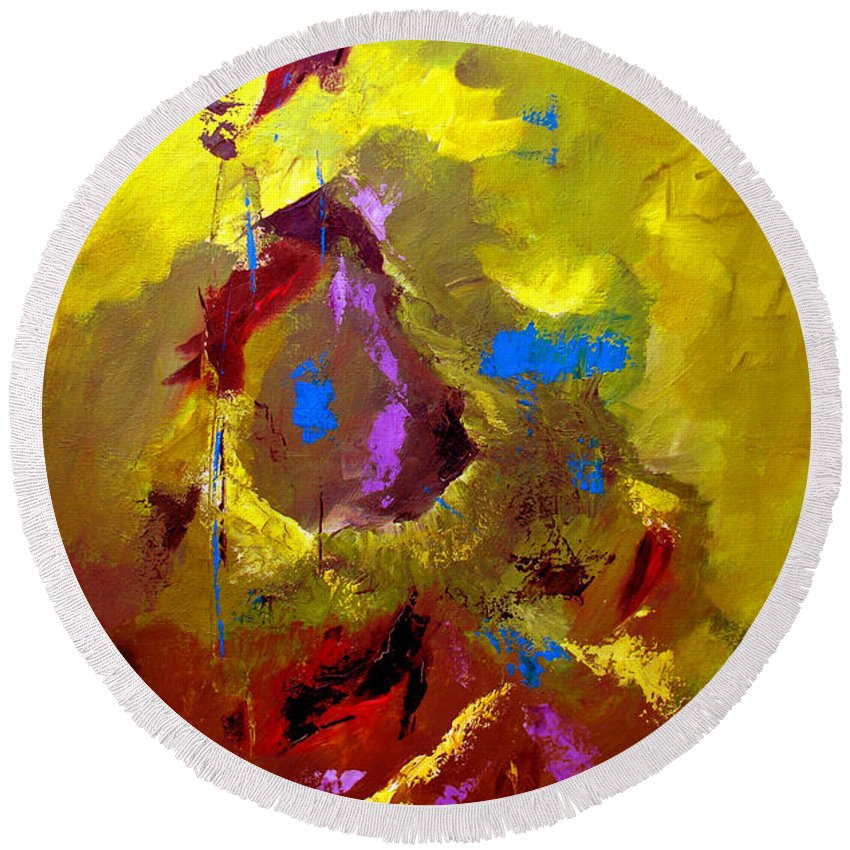 Abstract Round Beach Towel featuring the painting Set Free by Ruth Palmer