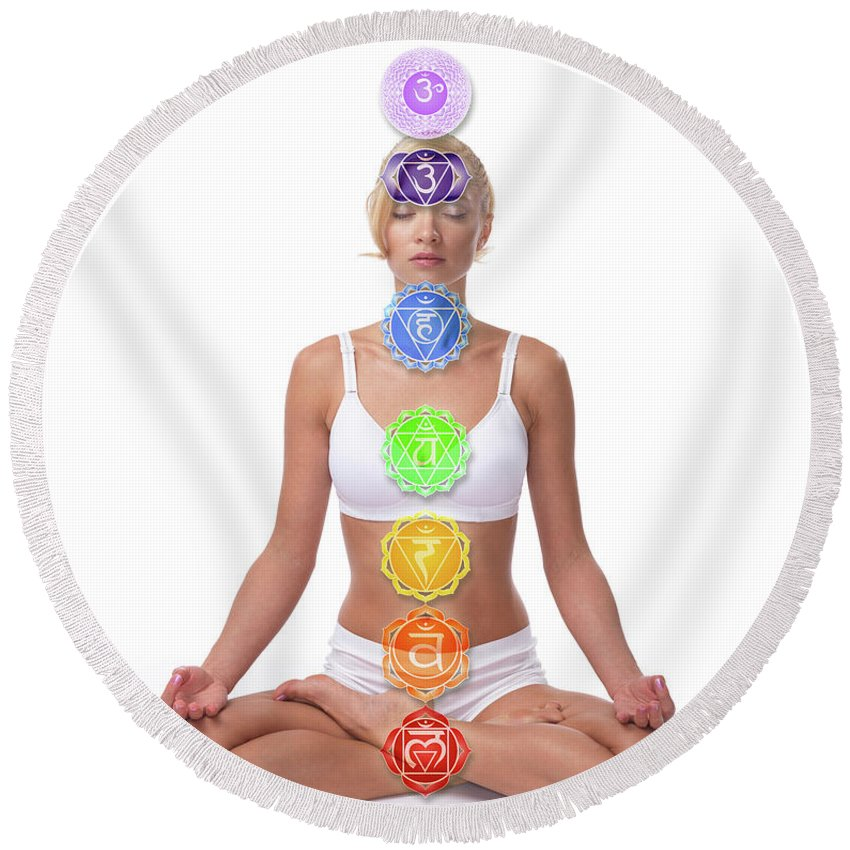 Chakras Round Beach Towel featuring the photograph Seven Chakras by Maxim Images Prints