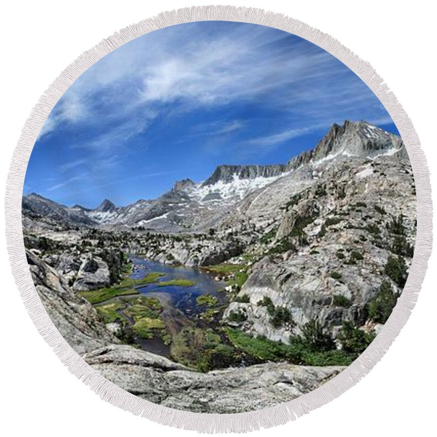 Sierra Round Beach Towel featuring the photograph Seven Gables Over Seven Gables Lakes - Sierra by Bruce Lemons