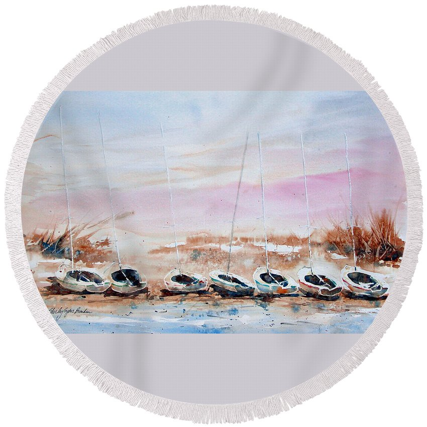 Ocean Round Beach Towel featuring the painting Seven Little Boats by Shirley Sykes Bracken