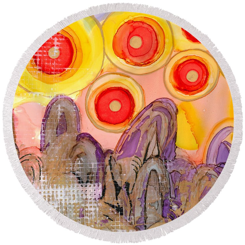 Abstract Round Beach Towel featuring the painting Seven Suns by Vicki Baun Barry