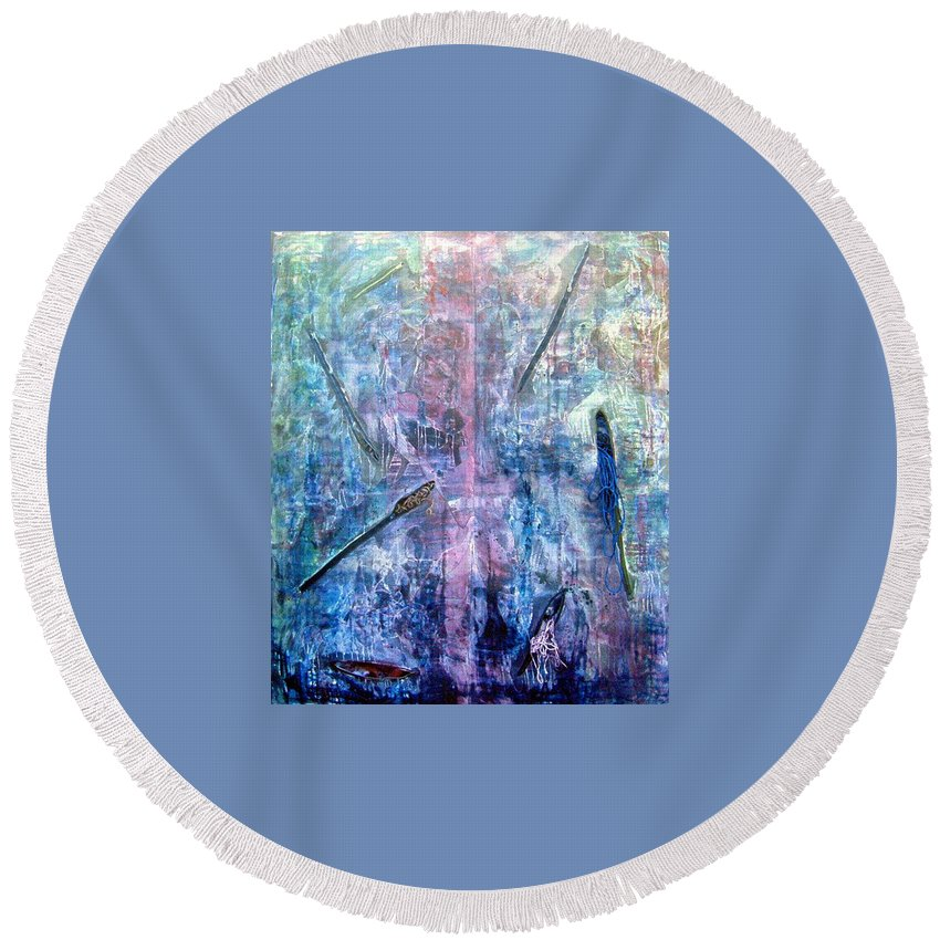 Abstract Round Beach Towel featuring the painting Seven Zippers by Nancy Mueller