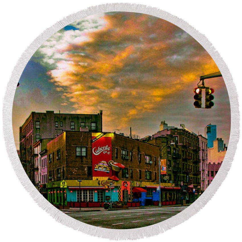 Bleeker Round Beach Towel featuring the photograph Seventh And Bleeker At Sunrise Nyc by Chris Lord