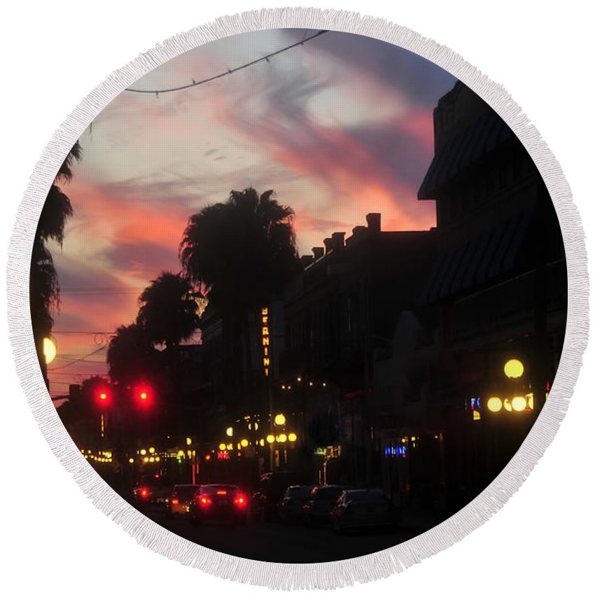 Ybor City Florida Round Beach Towel featuring the photograph Seventh Avenue Night by David Lee Thompson