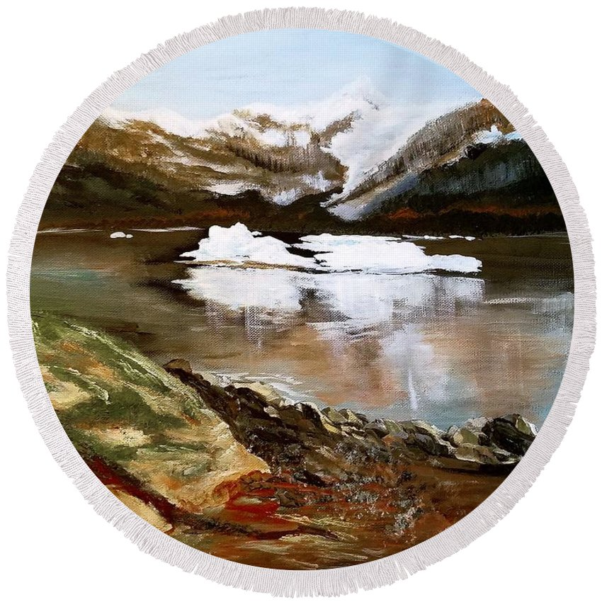 Alaska Round Beach Towel featuring the painting Seward Bay by Jacqueline Whitcomb