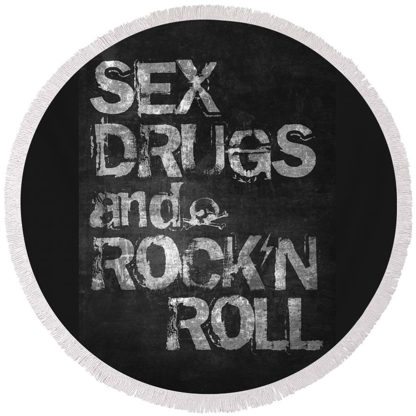 Rock And Roll Round Beach Towels