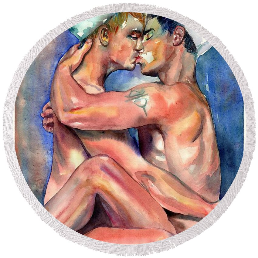 Love Round Beach Towel featuring the painting Sexy Sailors by Suzann Sines