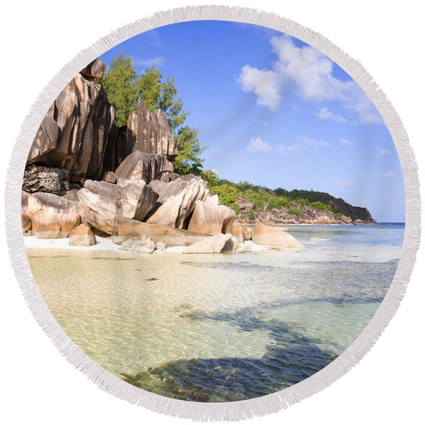 Beach Round Beach Towel featuring the photograph Seychelles Rocks by Alexey Stiop