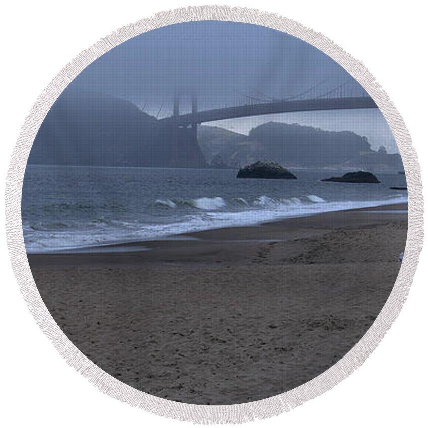 San Francisco Round Beach Towel featuring the photograph Sf Baker Beach by Michael Gordon