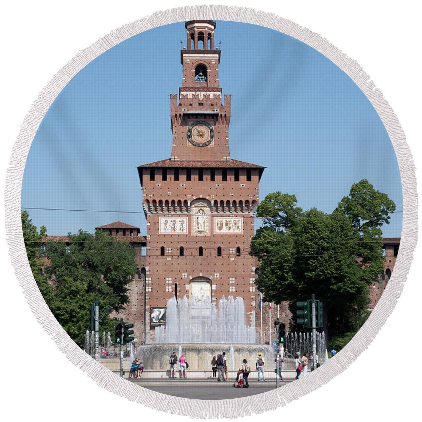 Sforza Castle Round Beach Towel featuring the photograph Sforza Castle Torre Del Filarete In Milan Italy by Louise Heusinkveld