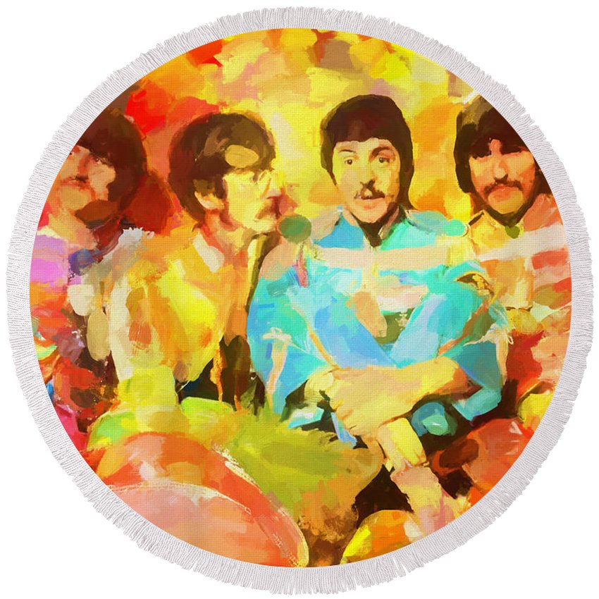 Sgt. Peppers Lonely Hearts Round Beach Towel featuring the painting Sgt. Peppers Lonely Hearts by Dan Sproul