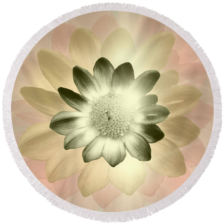 Digital Photograph Round Beach Towel featuring the digital art Shades Of A Daisy by Laurie Pike