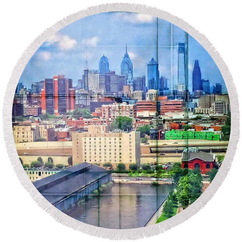 Alicegipsonphotographs Round Beach Towel featuring the photograph Shades Of Philadelphia by Alice Gipson