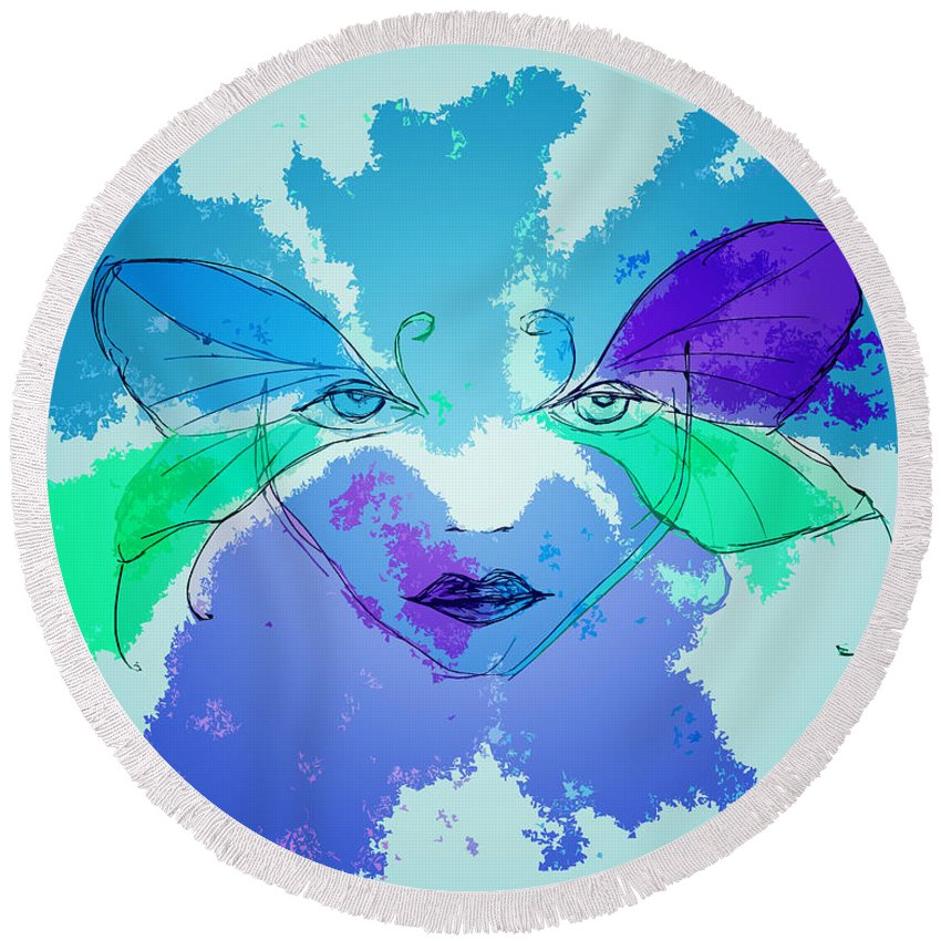 Butterfly Round Beach Towel featuring the painting Shades Of The Butterfly by Kate Hopson