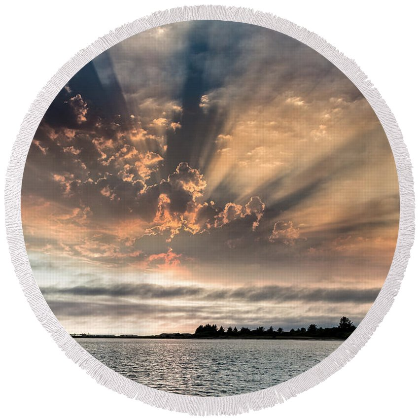 Humboldt Bay Round Beach Towel featuring the photograph Shadow Cloud Over Humboldt Bay by Greg Nyquist